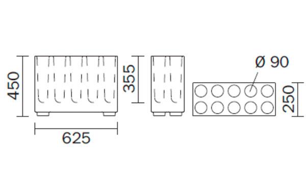 Diagrama paragüero Brick de Pedrali. Grande