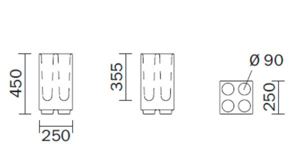 Diagrama paragüero Brick de Pedrali. Pequeño