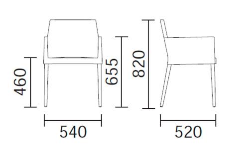 Diagrama sillón de diseño Dress 535 de Pedrali