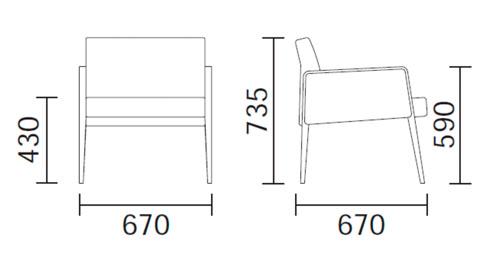 Diagrama sillón de diseño Jil 521 de Pedrali