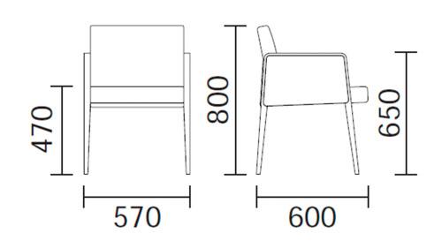 Diagrama sillón de diseño Jil 525 de Pedrali