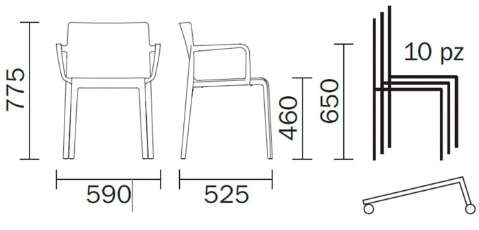 Diagrama sillón de diseño Volt 675 de Pedrali. Versión de exterior