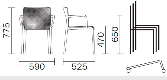 Diagrama sillón de diseño Volt 675 de Pedrali. Versión tapizada