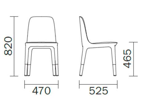 Diagrama silla de comedor Ester 691 de Pedrali