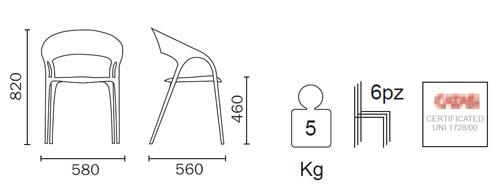 Diagrama silla de diseño Gossip de Pedrali