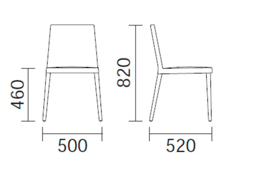 Diagrama silla de comedor Dress 530 de Pedrali