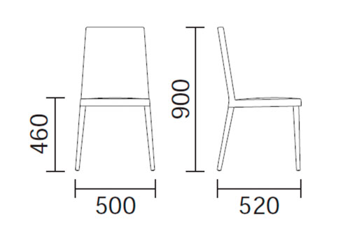 Silla de comedor dress 531 de pedrali compra online for Medidas de una silla de comedor
