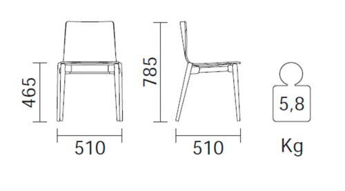Diagrama silla de comedor Malmö 391 de Pedrali