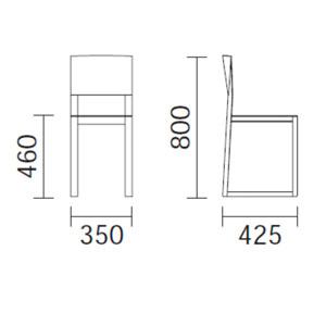 Diagrama silla de comedor de madera Brera de Pedrali