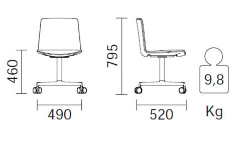 Diagrama silla de despacho Noa 727 de Pedrali
