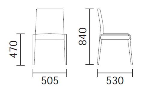 Diagrama silla de diseño Jil 520 de Pedrali