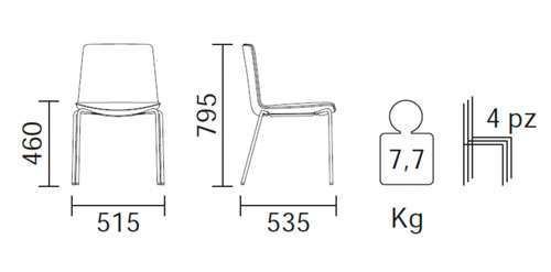 Diagrama silla de diseño Noa 726 de Pedrali