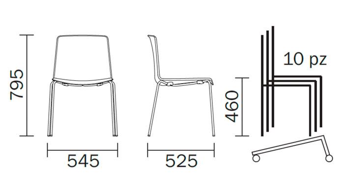 Diagrama silla de diseño Tweet 890 de Pedrali