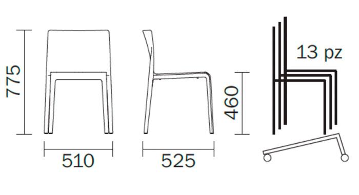 Diagrama silla de diseño Volt. Versión de exterior. Pedrali
