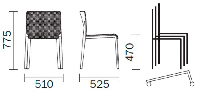 Diagrama silla de diseño Volt. Versión tapizada. Pedrali