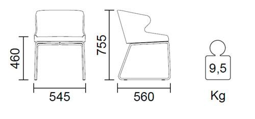 Diagrama silla de ecopiel Leila de Pedrali