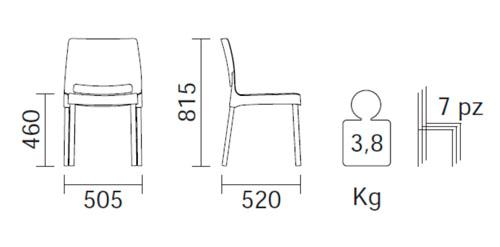 Diagrama silla de jardín Joi de Pedrali