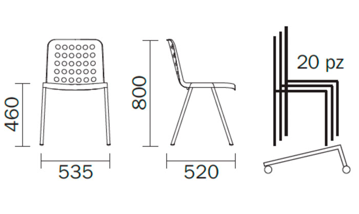 Diagrama silla de jardín Koi-Booki de Pedrali