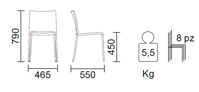 Diagrama silla de jardín Mya 700 de Pedrali