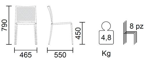 Diagrama silla de jardín Mya 701 de Pedrali