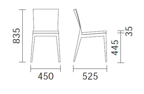 Diagrama silla de madera Twig de Pedrali