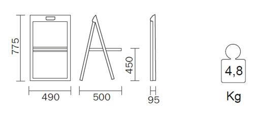 Diagrama silla plegable Enjoy de Pedrali