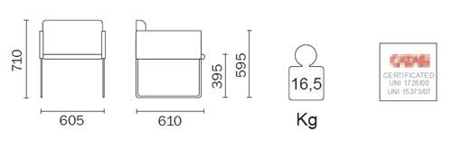 Diagrama Sillón de diseño Box Lounge de Pedrali