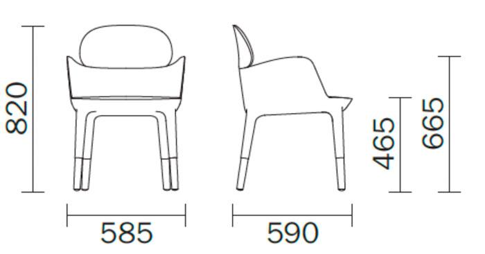 Diagrama sillón piel Ester 690 de Pedrali