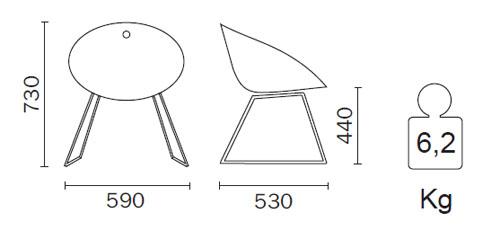 Diagrama Sillón de diseño Gliss de Pedrali