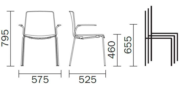 Diagrama sillón de diseño Tweet 895 de Pedrali