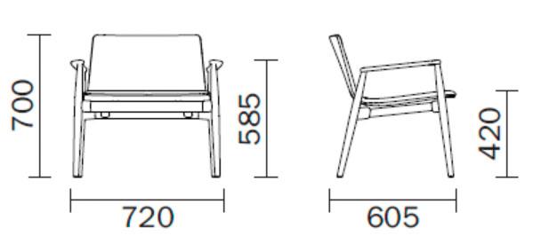 Sill n de madera malm 295 de pedrali compra online en for Sillon en l medidas