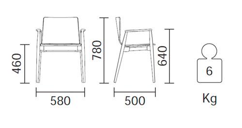 Diagrama sillón Malmö 395 de Pedrali