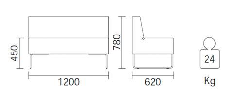 Diagrama sillón modular Host 200 de Pedrali