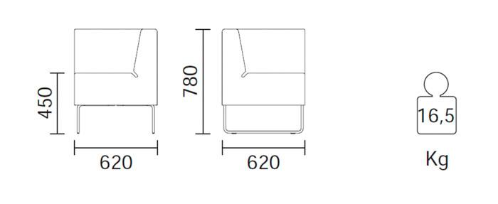 Diagrama sillón de esquina modular Host 202 de Pedrali