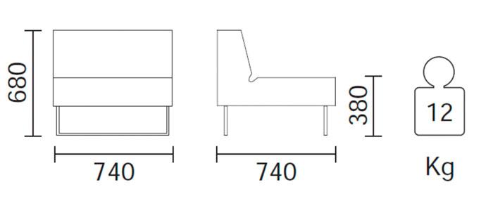 Diagrama sillón modular de exterior Host Lounge 790 de Pedrali