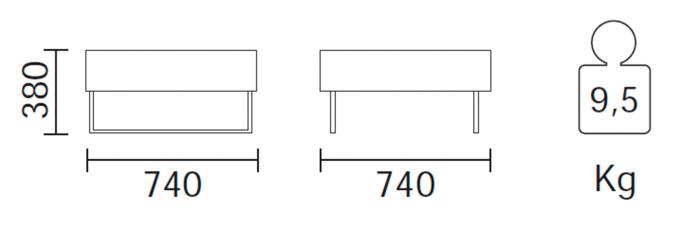 Diagrama sillón modular tipo puff Host Lounge 792 de Pedrali