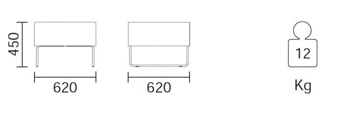 Diagrama sillón modular tipo puf Host 203 de Pedrali