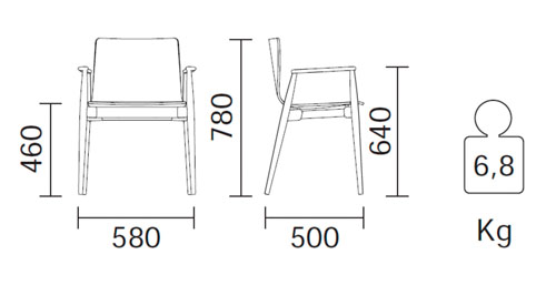 Diagrama sillón de piel Malmö 397 de Pedrali