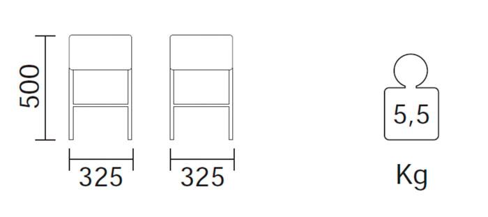 Diagrama taburete Cube de Pedrali. 50 cm.
