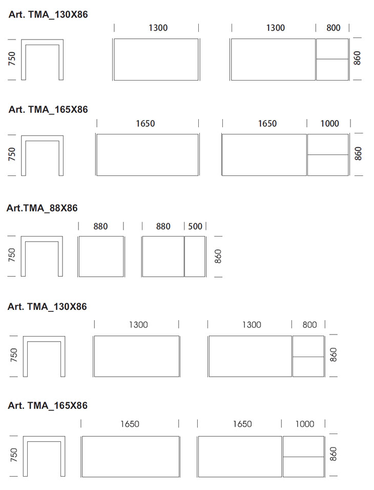 Medidas Mesa Matrix de Pedrali