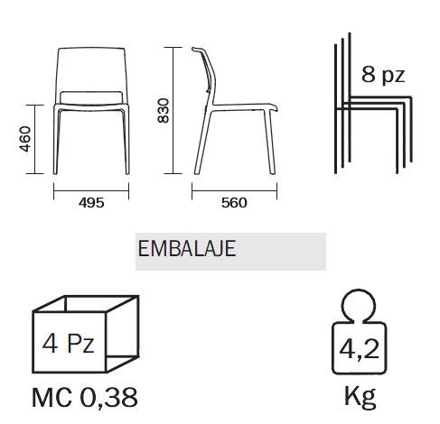 Silla de comedor ara de pedrali for Medidas silla comedor