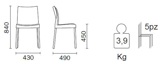 Medidas Silla de diseño Ice Pedrali