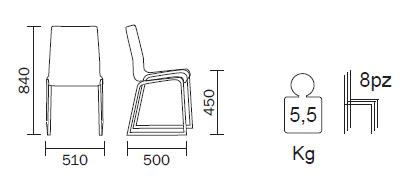 Medidas Silla Kuadra 1158 Pedrali