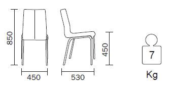 Medidas Silla de piel Kuadra 1281 Pedrali