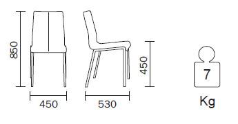 Medidas Silla de piel Kuadra 1291 Pedrali