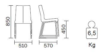 Medidas Silla de piel Kuadra 1298 Pedrali