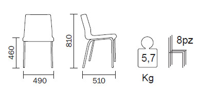 Medidas Silla Kuadra XL 2403 Pedrali