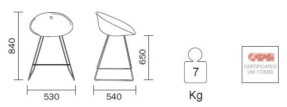 Medidas taburete de cocina Gliss Pedrali