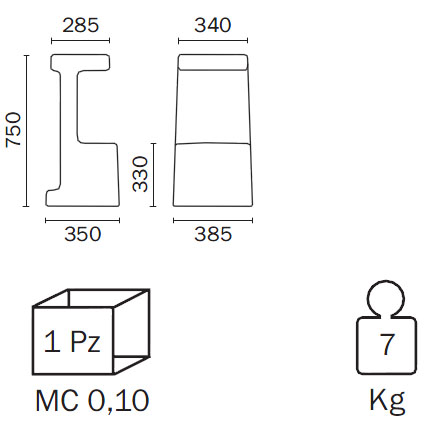 Medidas Taburete de diseño Serif Pedrali