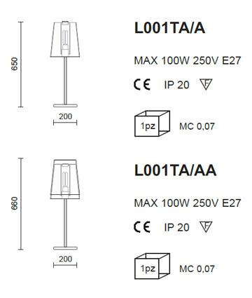 Medidas lámpara sobremesa Pedrali L001TA